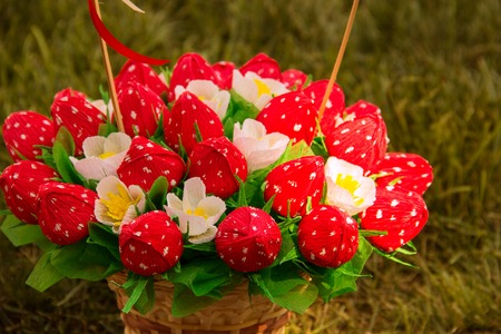 sweet edible bouquet of sweets in the form of strawberries. Handmade. Gift for St. Valentines Day.