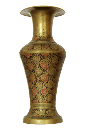 Ancient Indian Brass Or Bronze Carved Vase With A Floral Pattern
