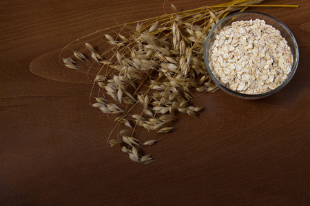 Oat ears stems and oat flakes in a bowl on dark brown wood background. oatmeal flakes coarse. large-sized flakes. Copy space in bottom. Useful fiber-rich product. Dietary breakfast from healthy foods. Stock Photo
