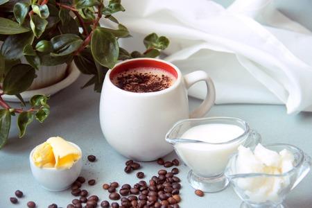 bulletproof coffee recipe keto. it works ketogenic diet 版權商用圖片