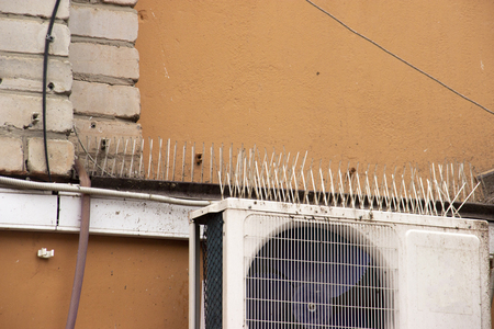 part of the facade of the building with plastic spikes against pigeons. the design does not allow birds to sit down and shit. Vertical plastic spikes in two rows keep air conditioners from droppings.