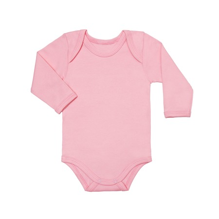 Pink baby girl shirt bodysuit with long sleeve isolated on a white background. Mock up for design and placement of logos. Copy space for text or pictures