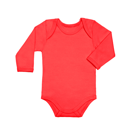 Coral red baby shirt bodysuit with long sleeve isolated on a white background. Mock up for design and placement of logos. Copy space for text or pictures