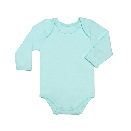 Flat Lay blue baby shirt bodysuit with long sleeve isolated on a white background, for boys. Mock up for design and placement of logos, advertisements. Copy space for text or pictures