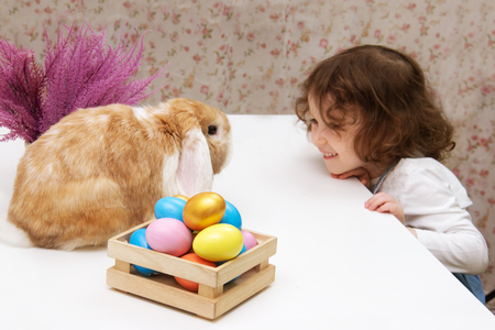 easter bunny and a little baby girl are looking at each other. The hare is sitting on the table, the girl is smiling. colorful eggs on purple flowers background provence. Copy space for text