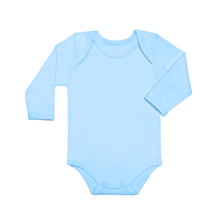 Flat Lay blue baby shirt bodysuit with long sleeve isolated on a white background, for boys.