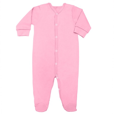 Flat Lay Pink sweet lilac cotton sleep suit for baby with long sleeve isolated on a white background, for boys.