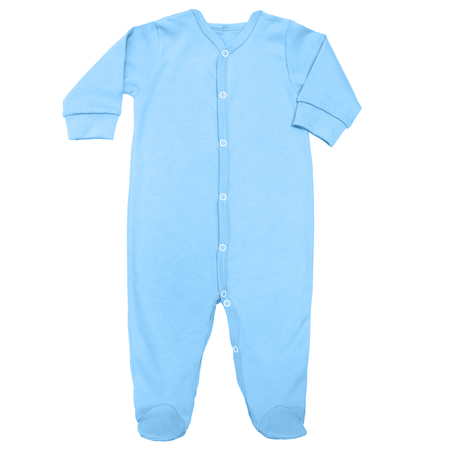 Flat Lay blue organic sleep suit for baby with long sleeve isolated on a white background, for boys. Imagens