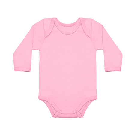 Pink sweet lilac baby girl shirt bodysuit with long sleeve isolated on a white background. Imagens