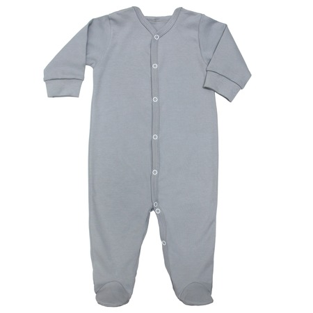 Flat Lay gray cotton sleep suit for baby with long sleeve isolated on a white background, for boys.
