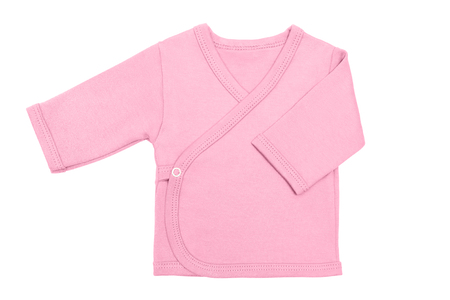 Pink sweet lilac baby girl babys loose jacket with long sleeve isolated on a white background.