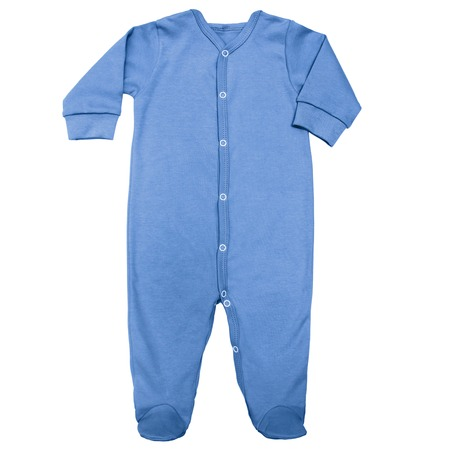 dark blue organic sleep suit for baby with long sleeve isolated on a white background, for boys. Imagens