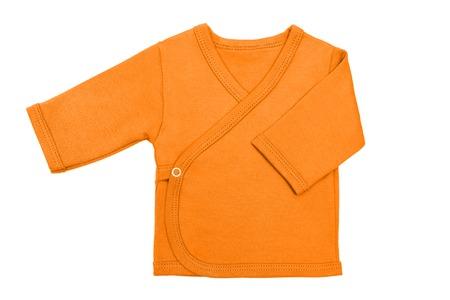 orange turmeric baby girl babys loose jacket with long sleeve isolated on a white background.