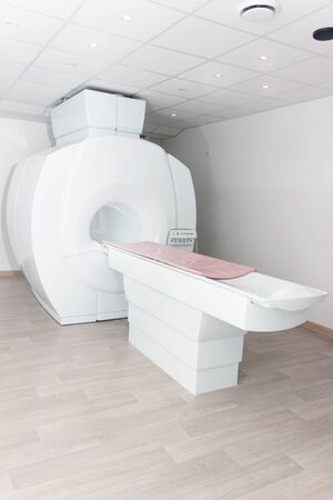 A sophisticated MRI Magnetic resonance imaging scan device in Hospital Vertical
