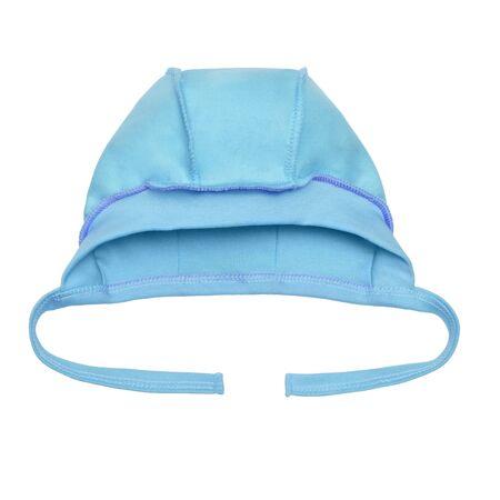 newborn blue baby hat on a white background Standard-Bild