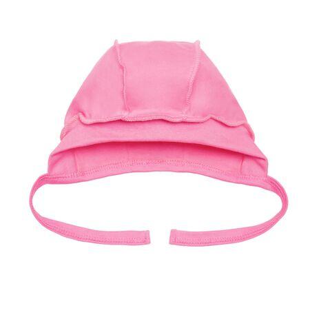 newborn pink baby hat on a white background Standard-Bild