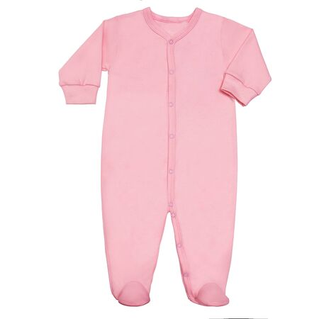 Flat Lay Pink cotton sleep suit for baby with long sleeve isolated on a white background