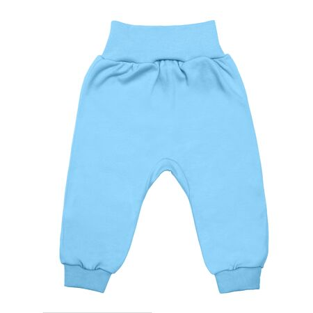 blue baby drawers pants. child trousers isolated on white background. Stock Photo