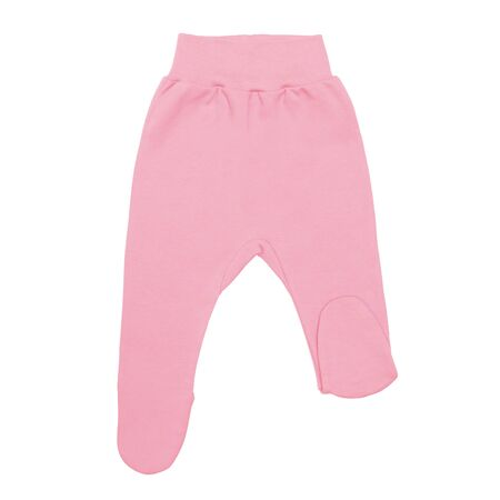 pink baby footed pants. child footie trousers isolated on white background. Stock Photo