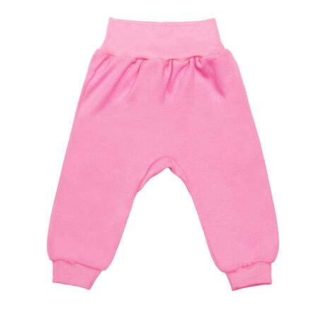 pink baby drawers pants. child trousers isolated on white background.