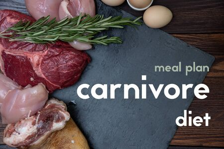 carnivore keto diet meal plan flat lay Stock Photo