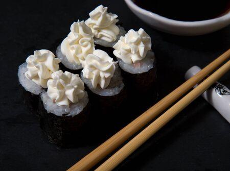 Salmon and cottage cheese mascarpone sushi rolls, japanese food and cottage cheese mascarpone