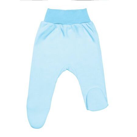 blue baby footed pants. child footie trousers isolated on white background.