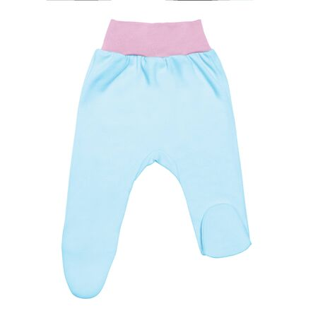 blue baby footed pants with pink elastic. child footie trousers isolated on white background.