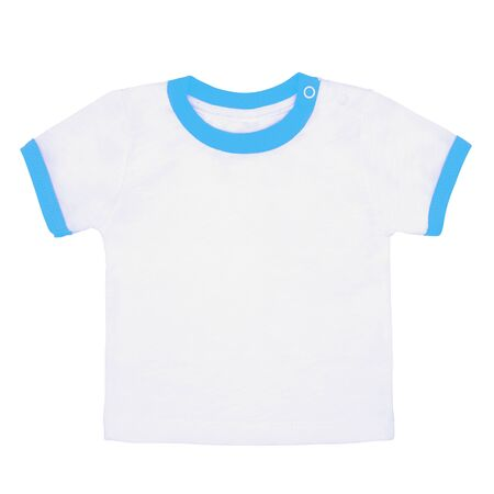 children's white t-shirt with a blue fringe isolated on white background.