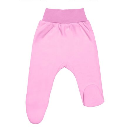 pink baby footed pants. child footie trousers isolated on white background. Archivio Fotografico