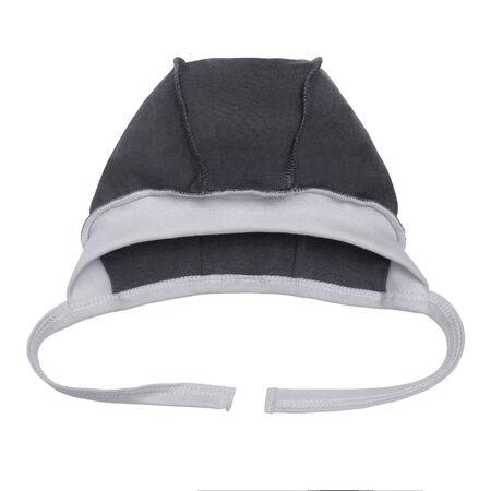 newborn gray baby hat on a white background.