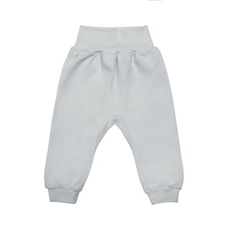 gray baby drawers pants. child trousers isolated on white background. Archivio Fotografico