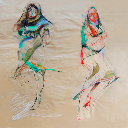 bulgaria girl: Drawing on paper of two Bulgarian folklore dresses