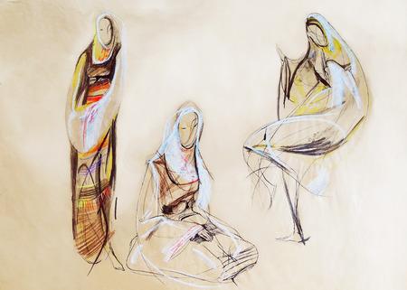 tempera: Drawing of women in Balkan clothes