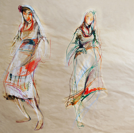 bulgaria girl: Drawing on paper of two Bulgarian traditional female costumes Stock Photo