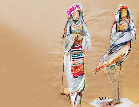bulgaria girl: Drawing on paper of two traditional Bulgarian women Stock Photo