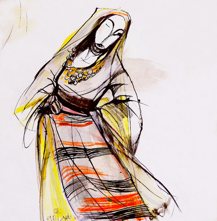 bulgaria girl: Drawing of Bulgarian folklore dress