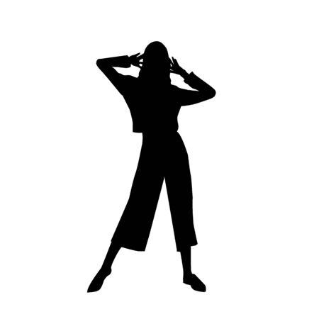Black fashion vector silhouette of beautiful stylish woman