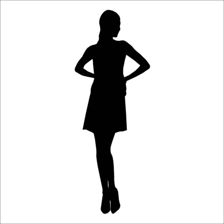 Vector black silhouette of a fashion woman isolated on white background