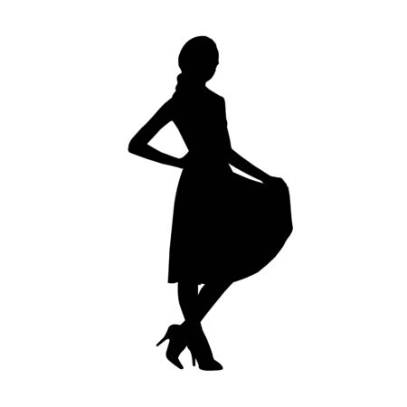 Black fashion vector silhouette of young stylish girl Çizim