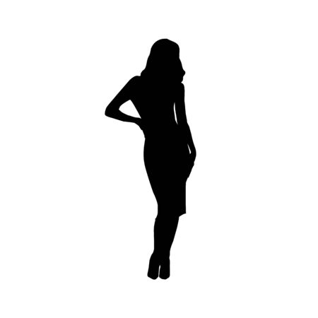 Vector silhouette of beautiful stylish girl with long legs isolated on white background