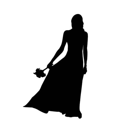 Black fashion vector silhouette of beautiful young bride in flying dress with wedding bouquet isolated on white background.