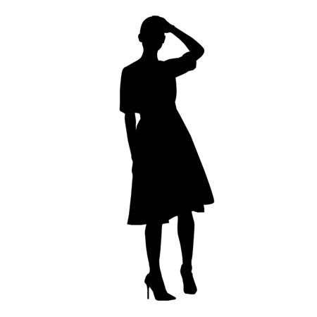 Vector silhouette of beautiful stylish woman in dress isolated on white background Çizim