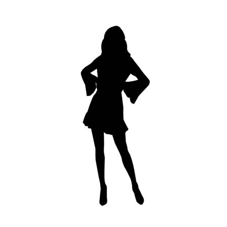 Black fashion vector silhouette of beautiful stylish woman in mini dress with long legs isolated on white background. Çizim