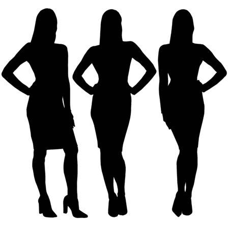 Vector silhouettes féminines noires femmes debout en mini robe isolé sur fond blanc Vecteurs