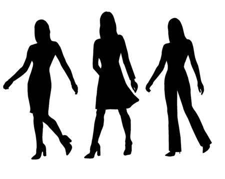 Vector black silhouettes of stylish females in pants, dress and skirt outfits isolated on white background