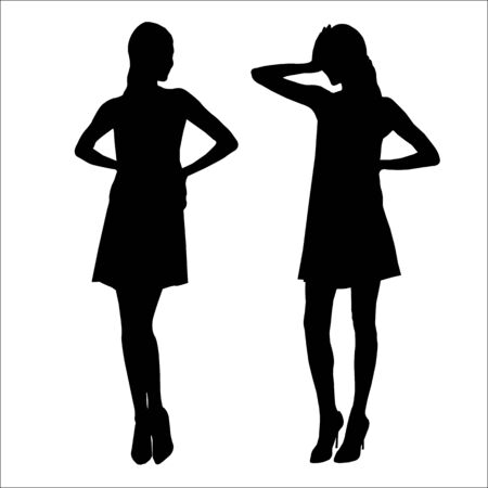 Vector black silhouettes of beautiful stylish women with long legs isolated on white background Çizim