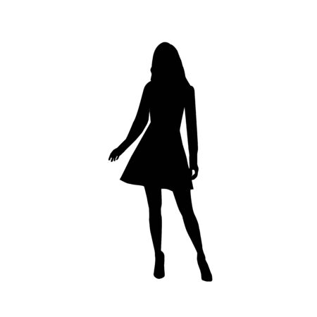 Black fashion vector silhouette of beautiful stylish woman in mini dress outfit with long legs isolated on white background Çizim
