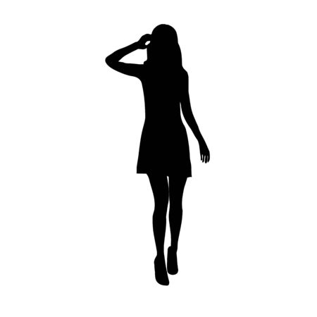 Black fashion vector silhouette of beautiful stylish woman in mini dress outfit with long legs isolated on white background. Çizim