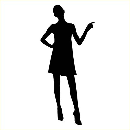 Vector silhouette of beautiful stylish girl in mini dress isolated on white background